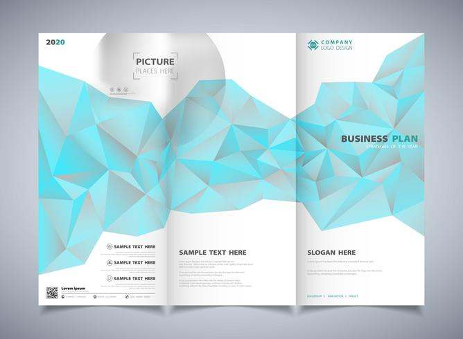 Abstract polygon blue color of brochure template design background. illustration vector eps10