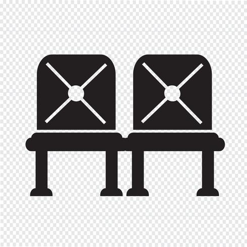 Icono de asiento de aeropuerto en espera