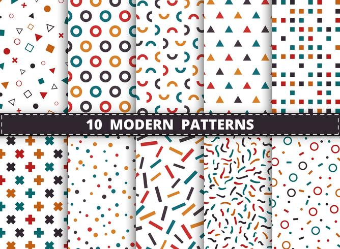 Il modello geometrico moderno variopinto astratto ha messo su fondo bianco. Decorare per lo stile di opere d'arte di design geometrico, pubblicità, confezionamento, stampa.