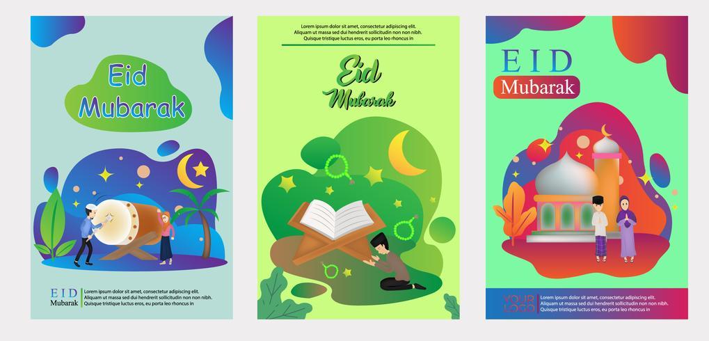 cartel de diseño moderno eid plantilla de mubarak vector