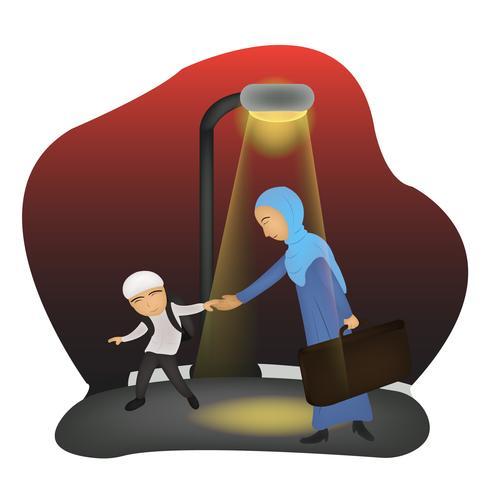 illustration du personnage fête des mères islamique vecteur