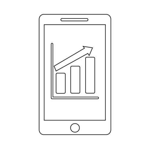 ícone de infográficos de gráfico de telefone móvel