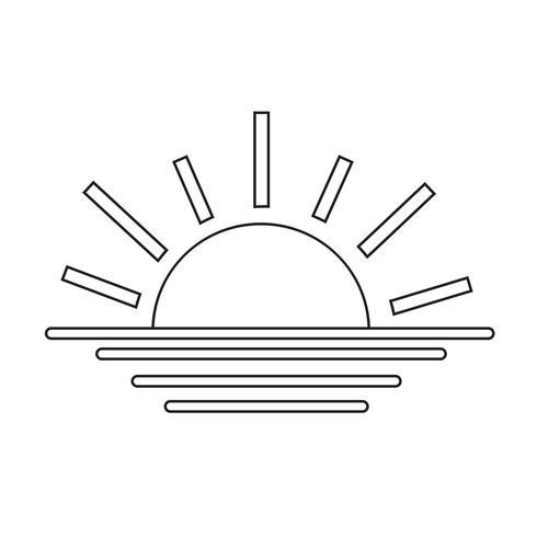 icona della linea tramonto al tramonto
