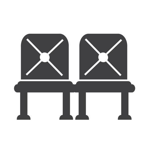 Icône de siège d'attente aéroport signe