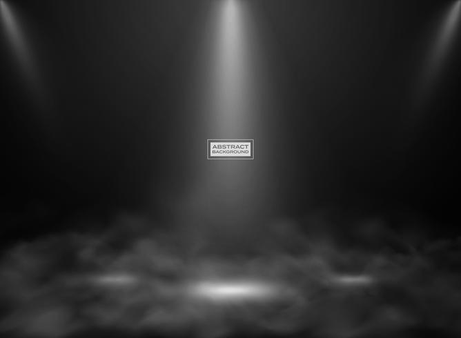 Maquette de studio abstrait couleur noire. Décorer pour montrer un produit, une affiche, une illustration de présentation avec de la fumée.