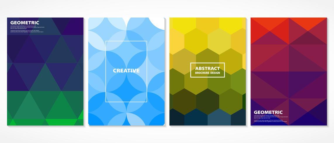 Cubiertas mínimas coloridas abstractas del mosaico. Decorado en forma geométrica con diseño de patrones de colores vivos. Puede utilizar para portada, impresión, anuncio, cartel, anual. vector