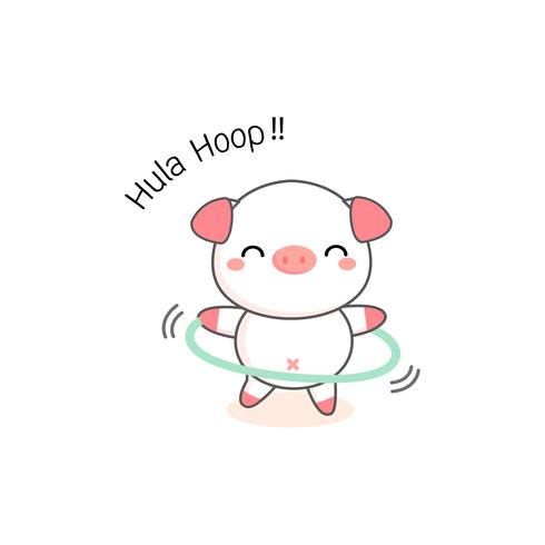 Little Pig giocando a hula hoop.