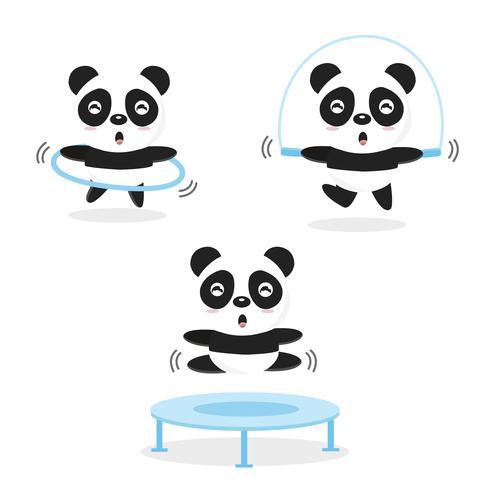 Panda divertenti che fanno esercizio fisico.