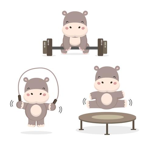 Funny Hippos Doing Exercise Download Free Vectors Clipart Graphics Vector Art