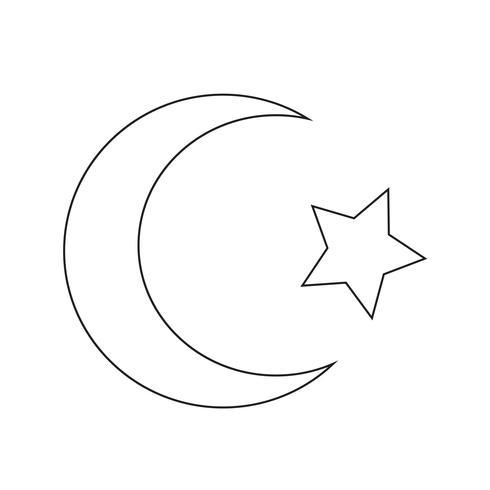 Simbolo dell'islam Icona a mezzaluna stellata