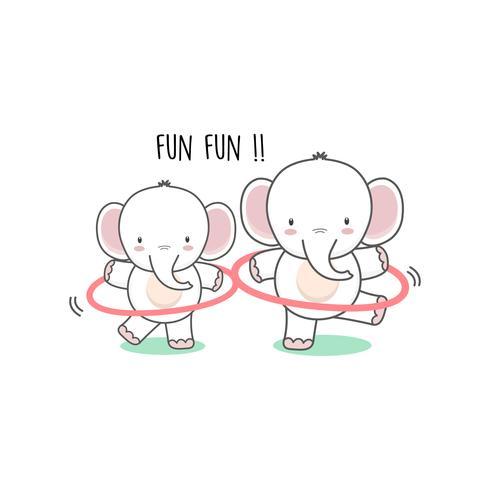 Piccolo elefante che gioca hula hoop.