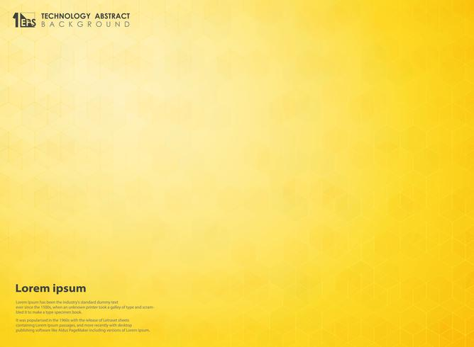 Abstract gradient yellow of science hexagon technology futuristic pattern background. Decorating design for using in poster, ad, brochure, annual magazine and art work. vector