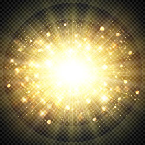 Goldenes Sonnenlicht des abstrakten Effektes für funkelndes Element der Sonnenexplosion. Abbildung Vektor eps10