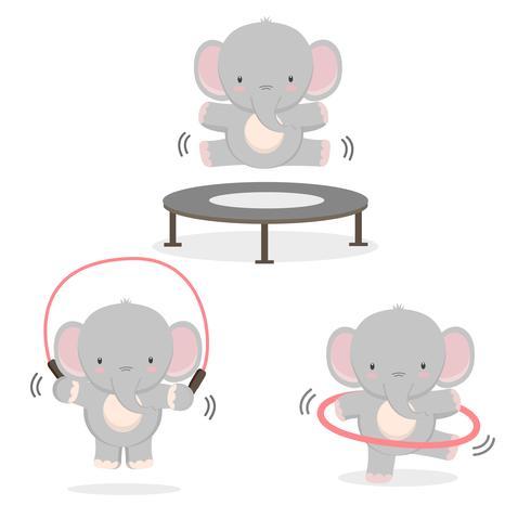 Divertido elefante haciendo ejercicio.
