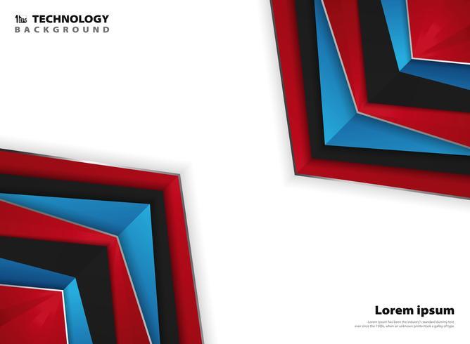 Abstrakter moderner roter blauer weißer Farbhintergrund der Seite der silbernen Dreiecke der Steigung formen Technologie auf weißem Hintergrund. Sie können für Präsentation, Plakat, Anzeige, Grafik, modernes Design verwenden. vektor