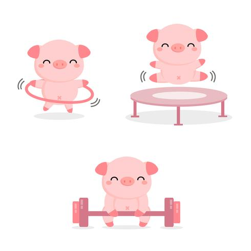 Funny pigs doing exercise.