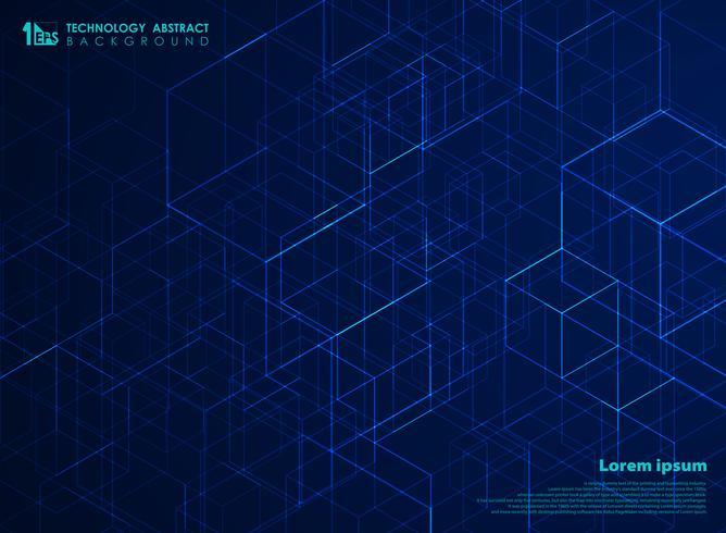 Fondo abstracto del modelo del cubo de la energía del cuadrado de la tecnología. Se puede utilizar para el diseño futurista de ilustraciones tecnológicas, anuncios, carteles, impresos, diseños de portadas, informes anuales.