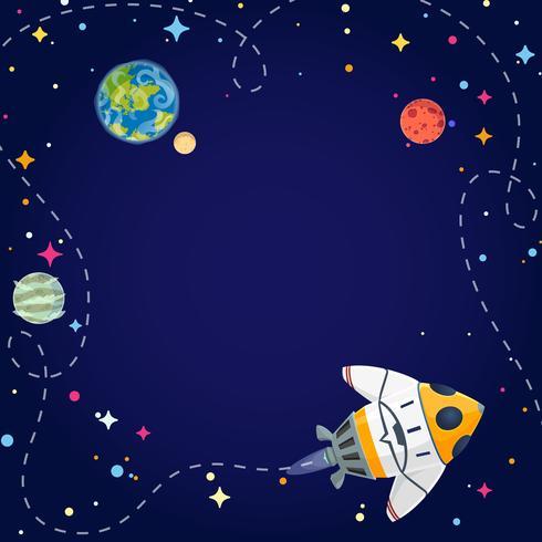 Marco con nave espacial, planetas y estrellas en espacio abierto. Estilo de dibujos animados de ilustración vectorial