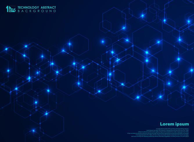 Collegamento complesso futuristico astratto del modello di forma di esagono nel fondo blu di tecnologia. Design per la connessione dati per pubblicità, poster, web, stampa, brochure, copertina.