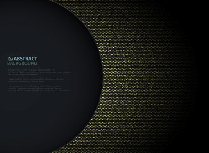 De abstracte gouden cirkel schittert patroonontwerp met linkercirkel donkere achtergrond van exemplaarruimte. Versieren in presentatie op papier, advertentie, poster, illustraties.