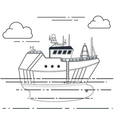 Navio de pesca no mar. Ilustração de contorno vetorial