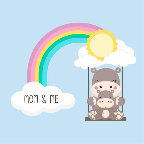 Hipopótamo y bebé swing en un arco iris. Ilustración de vector de tarjeta de día de la madre.