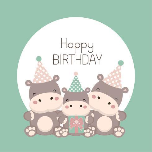 Happy birthday card with cute hippopotamus cartoon. vector
