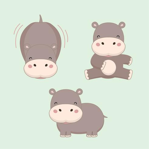 Pequeño dibujo animado de hipopótamo. vector