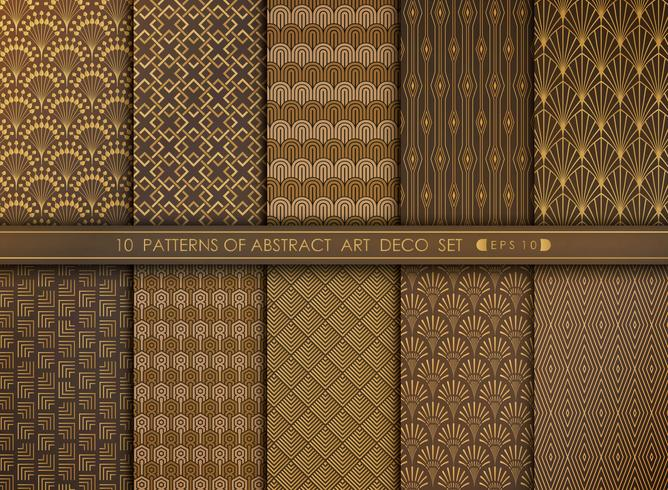 Abstract grand antique art deco pattern design set. You can use for art work decorating, ad, luxury style.