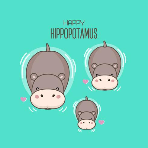 Happy Hippo family swim in the river.