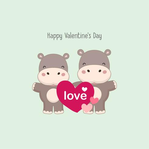 Happy valentine greeting card. Couple Hippo hold pink heart.