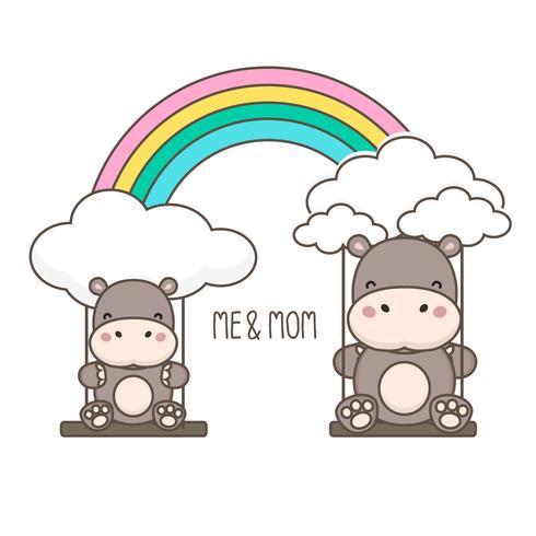 Hippo och baby swing på en regnbåge.