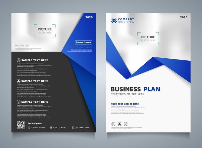 Folleto abstracto del negocio del fondo azul de la disposición de la plantilla. Puede utilizar para la presentación moderna de folleto, anuncio, folleto.
