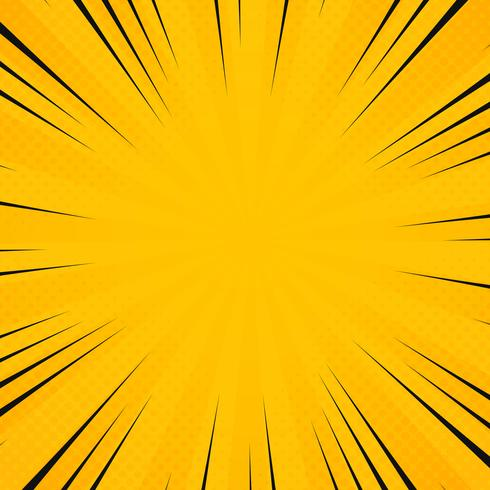 Abstract sun yellow color in radiance rays pattern with comic black line background. Decoration for poster texting, banner art work, banner, show text.