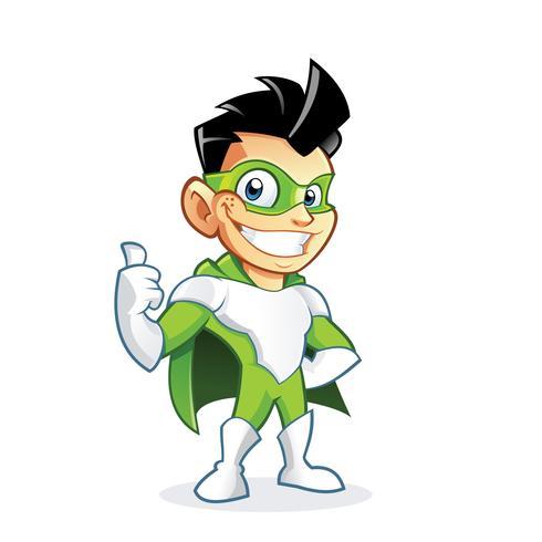 Superhero kid cartoon character vector