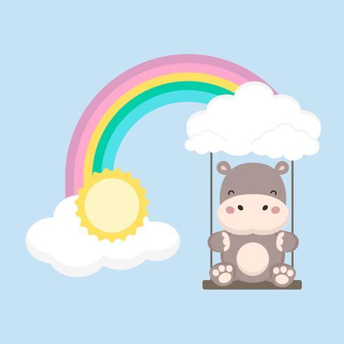 Cute Hippo swing on a rainbow. Fantasy colorful vector illustration.