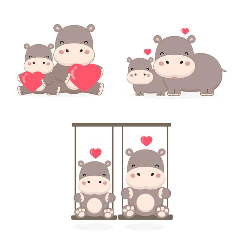 Casal fofo hipopótamo no amor.