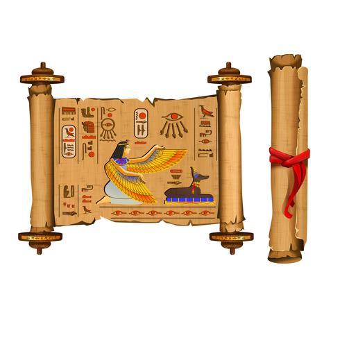 Vector de dibujos animados de Egipto antiguo papiro desplazamiento
