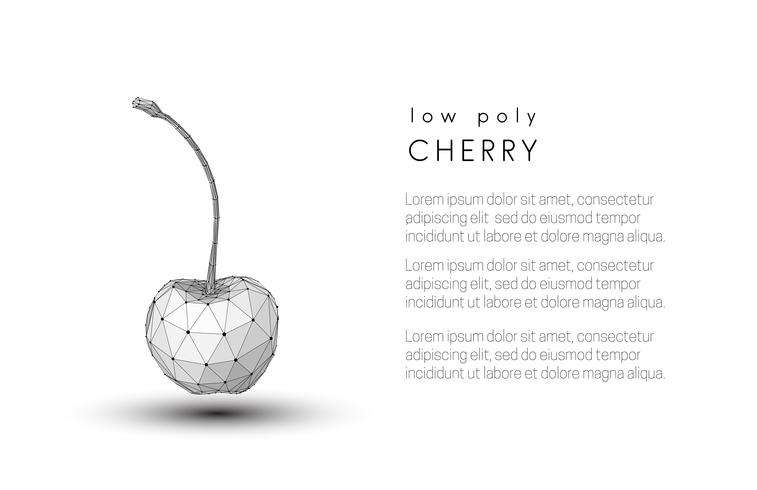 Abstract black and white cherry. Low poly style design