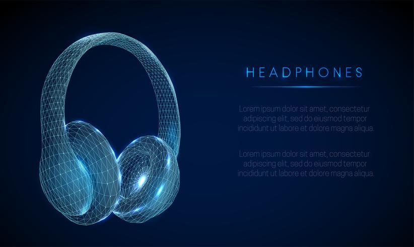 Low-Poly-Kopfhörer von Abstarct. Drahtgitterstruktur.