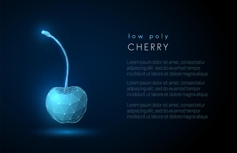 Abstract cherry. 3d low poly style design