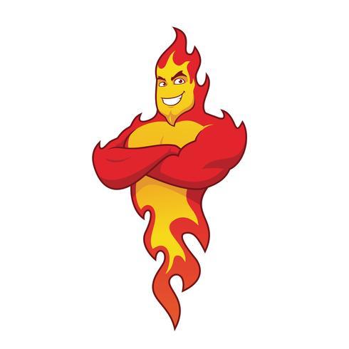 Personaje de llama de fuego