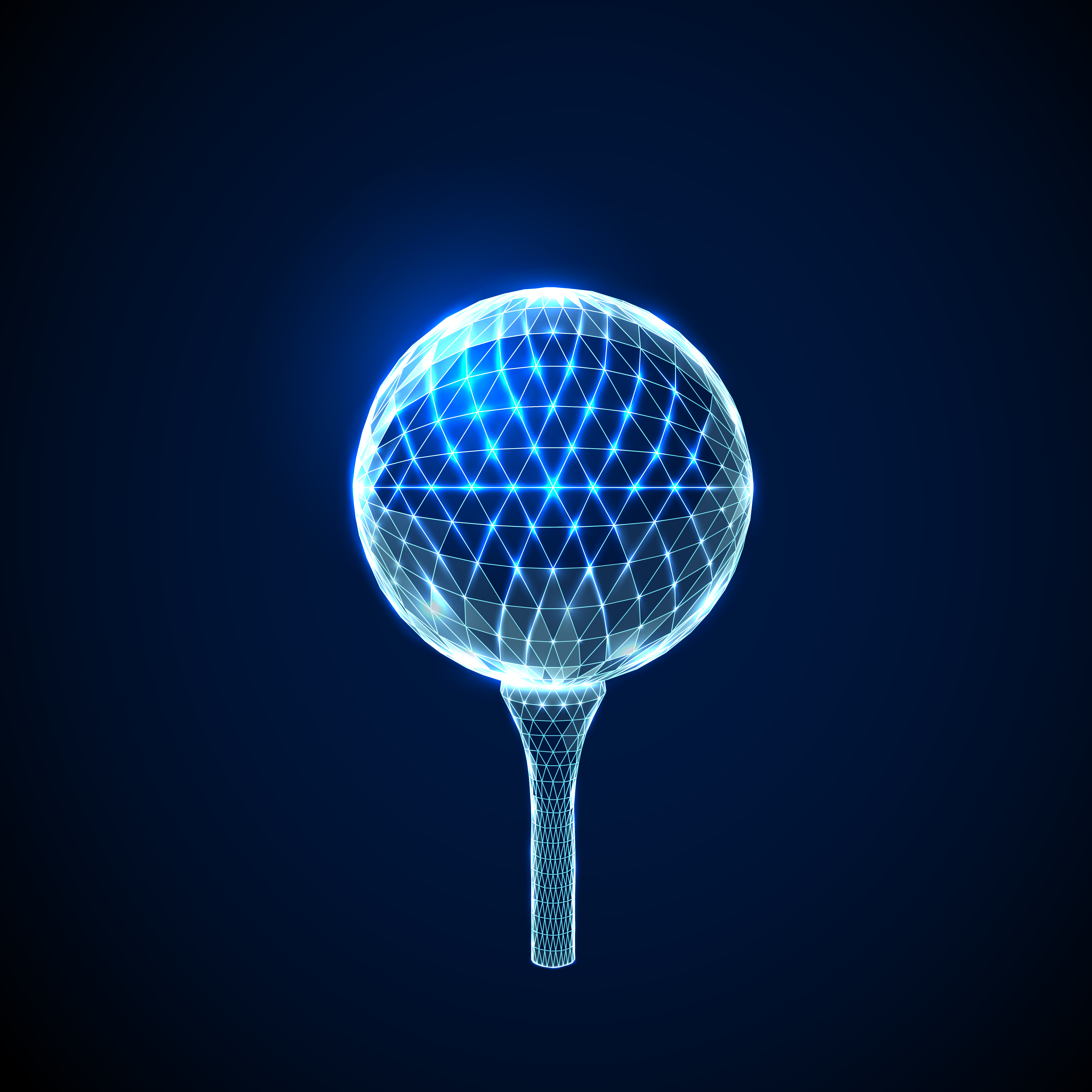 Abstract Golf Ball. Low Polygonal Style Design.