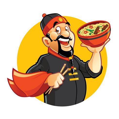 Chinese cartoon chef holding bowl with noddles
