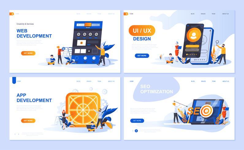 Ensemble de modèles de pages de destination pour le développement Web et d'applications, la conception d'interface utilisateur, l'optimisation du référencement. Des concepts plats illustration vectorielle moderne décoré le caractère de personn
