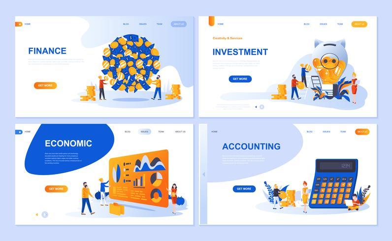 Set di modello di pagina di destinazione per Finanza, Investimenti, Contabilità, Crescita economica. I concetti piani dell'illustrazione moderna di vettore hanno decorato il carattere della gente per il sito Web e lo sviluppo del sito Web mobile.
