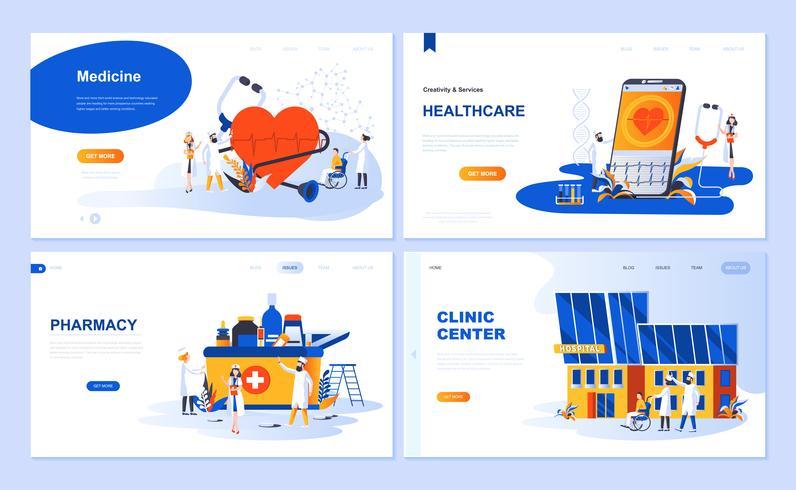 Set van bestemmingspagina sjabloon voor geneeskunde, gezondheidszorg, apotheek, kliniek centrum. Moderne vector illustratie platte concepten ingericht mensen karakter voor website en mobiele website-ontwikkeling.