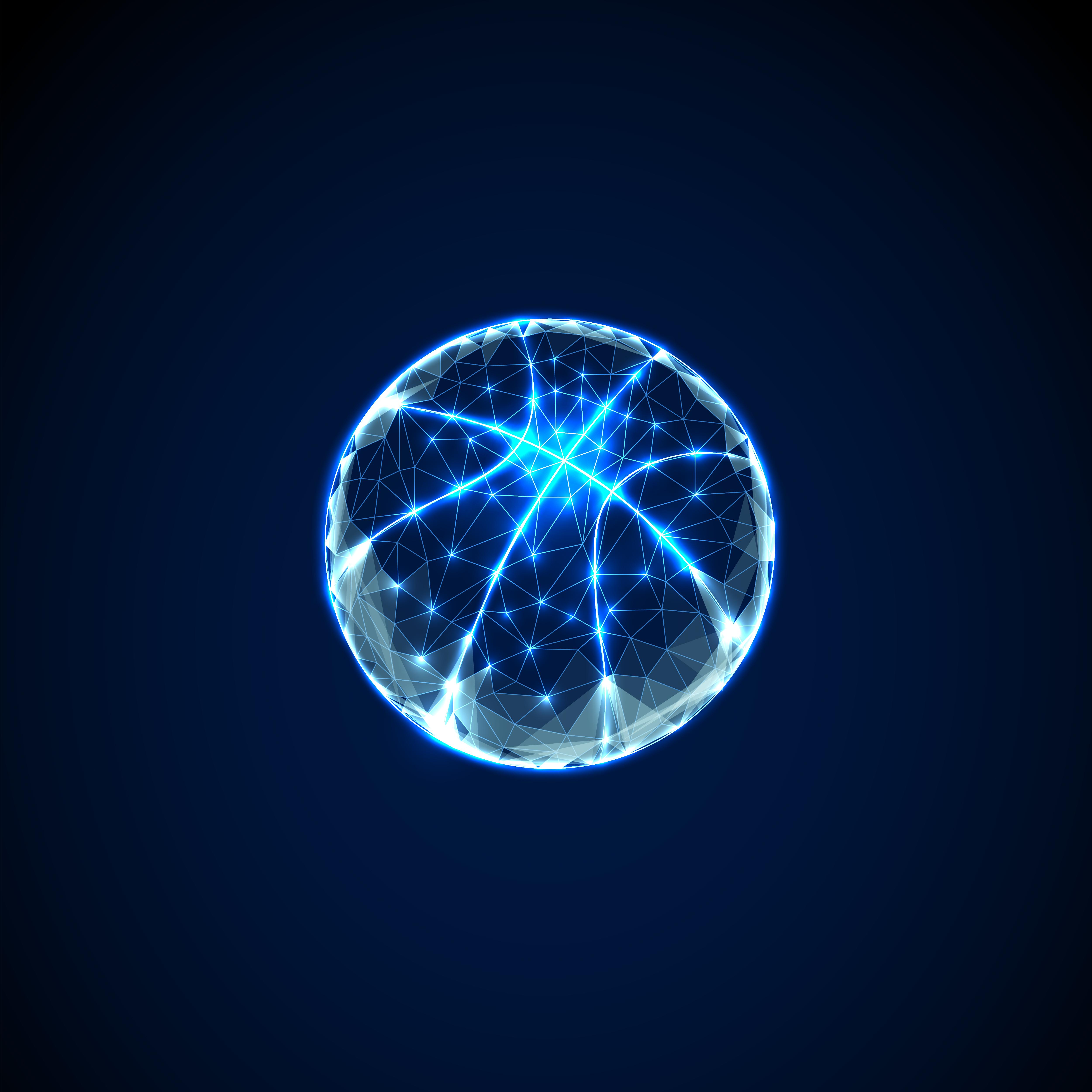 Abstract basketball ball. Low polygonal style design.