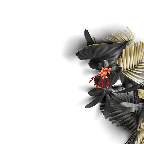 Tropiska svarta och guldblad på vit bakgrund
