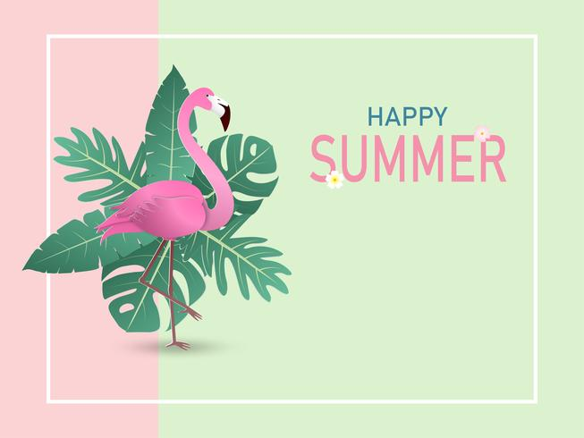 Illustration of summer banner background in paper cut style with flamingo bird and green tropical leaves on pastel color background. Vector illustration.